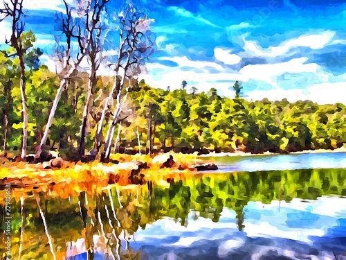 Fototapety, obrazy: Hand drawing watercolor art on canvas. Artistic big print. Original modern painting. Acrylic dry brush background. Wonderful spring green Russian forest landscape. European resort. Travel time. Lake