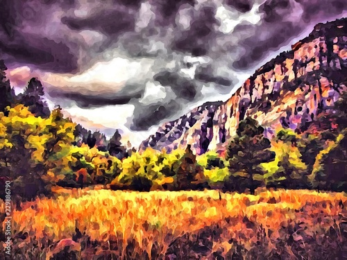 Foto op Aluminium Aubergine Hand drawing watercolor art on canvas. Artistic big print. Original modern painting. Acrylic dry brush background. Wonderful autumn mountain landscape. Canyon savanna resort. Travel time. Dark sky.