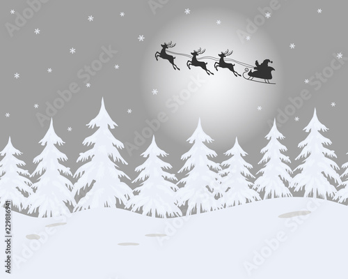 Fotobehang Wit Winter landscape. Santa Claus is riding across the sky on deers. There are white fir trees on a gray background in the picture. It can be used as a seamless border. Vector illustration