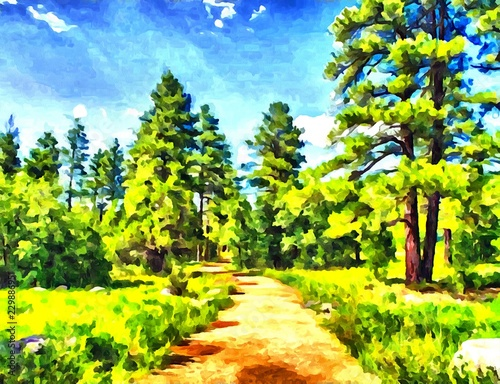 Hand drawing watercolor art on canvas. Artistic big print. Original modern painting. Acrylic dry brush background. Wonderful green forest landscape. European resort. Travel time