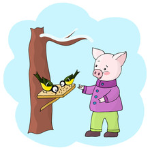 Vector Pig Feeds Crumbs And Su...