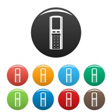 Remote Control Conditioner Icons Set 9 Color Vector Isolated On White For Any Design