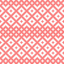 Seamless Pattern Based On Slavic Ornament.Embroidered Cross-stitch.