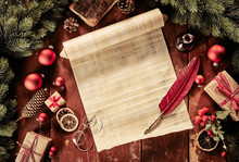 Vintage Christmas Still Life With Scroll And Quill