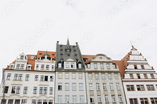 Traditional Old Architecture On The Main Square In Leipzig In Germany Residential Buildings With Many Windows Are In A Row Buy This Stock Photo And Explore Similar Images At Adobe Stock