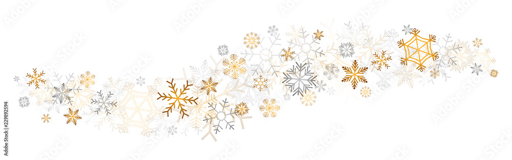 Fototapeta gold snowflakes decor