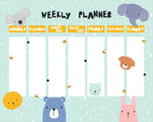 Cute Kids Weekly Planner With ...