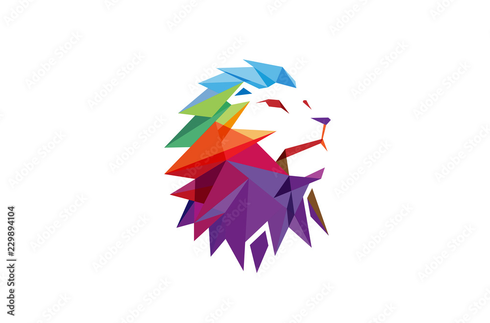 Fototapeta Creative Abstract Colorful Lion Logo Vector Illustration