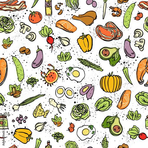 ketogeniczne-jedzenie-wektor-wzor-szkic