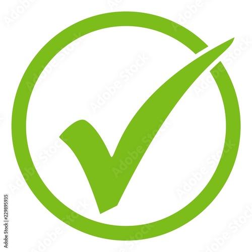 Grünes Häkchen in grünem Kreis Canvas Print