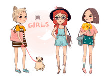 Cute Boho Girls. Colored Vector Set. Every Girl Is Isolated
