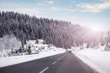 Car Driving On A Winter Road I...