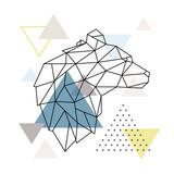 Geometric Bear silhouette on triangle background. Polygonal Wolf emblem. Vector illustration. - 229900397