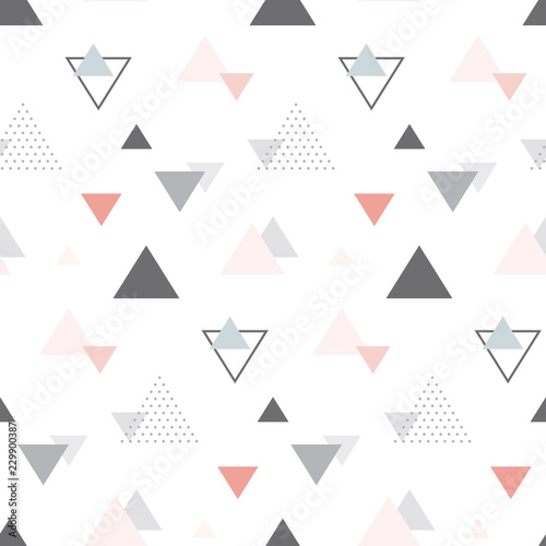 Abstract geometric scandinavian seamless pattern. Multicolor triangles. Vector illustration.