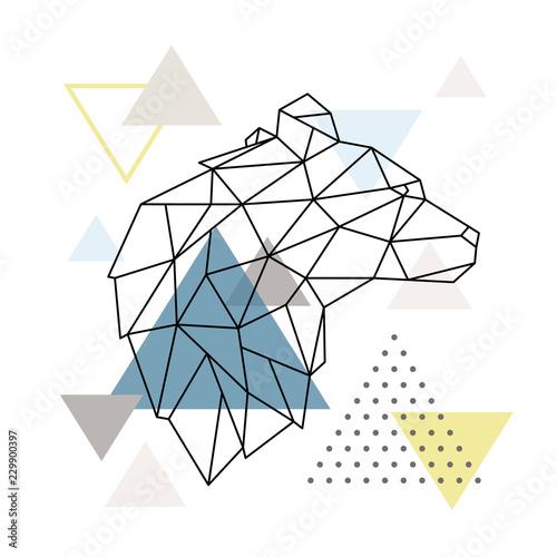 geometryczna-niedzwiedz-sylwetka-na-tle-trojkata-wieloboczne-wilk-godlo-ilustracji-wektorowych