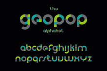 Modern Bold Geometric Font Vec...