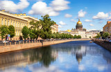 Saint Isaac Cathedral across Moyka river, St Petersburg, Russia - 229903312