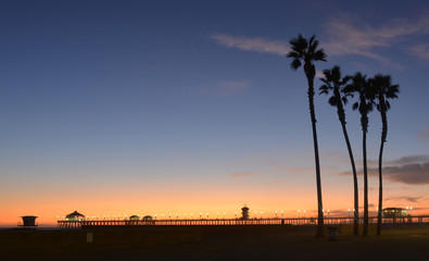 Fototapeta Huntington Beach Pier Los Angeles by Night