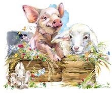 Watercolor Farms Animal Collection.