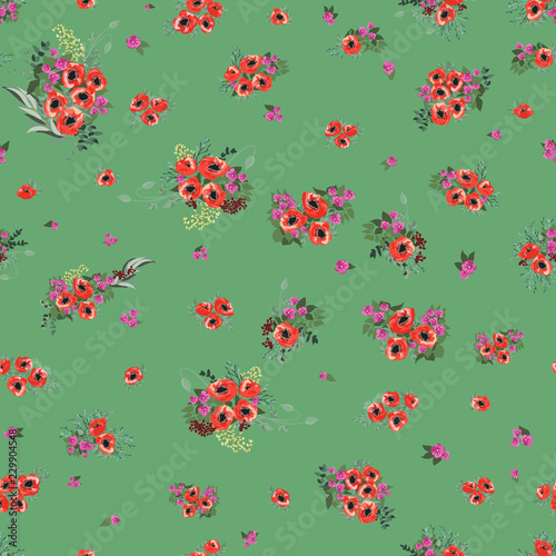 Montage in der Fensternische Marienkäfer Seamless pattern in small pretty flowers. Poppy bouquets. Liberty style millefleurs. Floral background for textile, wallpaper, pattern fills, covers, surface, print, wrap, scrapbooking, decoupage.
