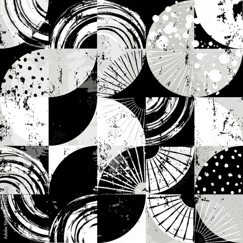 abstract art background pattern, with circles/dots, squares, strokes and splashes, black and white