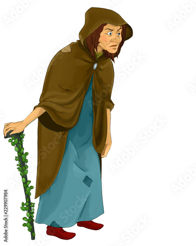 Vászonkép cartoon fairy tale character - old witch standing and looking - illustration for