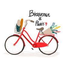 Bienvenue à Paris. Hand Drawn Bicycle With Flowers And Baguettes. Colored Vector Illustration