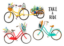 Hand Drawn Retro Bicycles. Colored Vector Set. All Elements Are Isolated