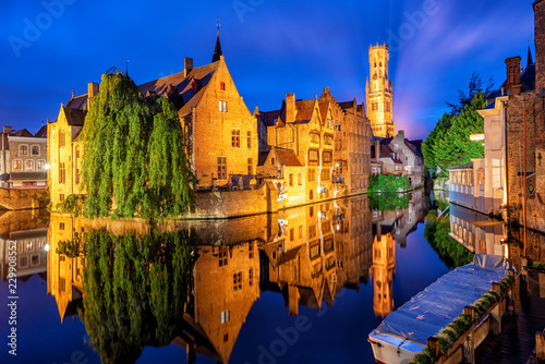 Poster Brugge The Bruges historical Old Town, Belgium, an UNESCO World Culture Heritage site