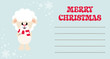 cartoon cute sheep white with scarf on the christmas card