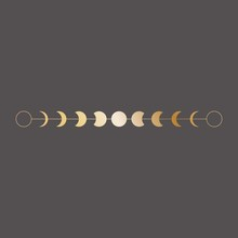 Moon Phases Icon, Border, Vect...