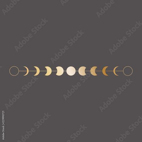 Moon phases icon, border, vector illustration in boho style. Golden on dark background © maddyz