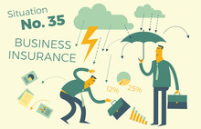 Flat Design Illustration For Presentation, Web, Landing Page: One Businessman Is Insured - He Is Under An Umbrella, The Second Businessman - In The Rain And Lightning
