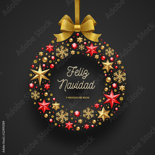 Christmas Wishes In Spanish.Feliz Navidad Christmas Greetings In Spanish Frame In The