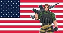 Illustration Of American Soldi...