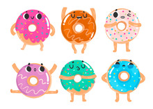 Hand Drawn Donuts With Various...