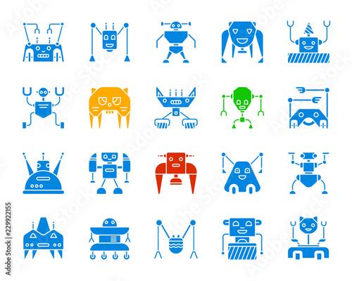Autocollant pour porte Creatures Robot color silhouette icons vector set