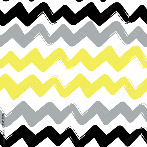 Foto op Canvas ZigZag Hand drawn abstract zigzags. Colored vector seamless pattern