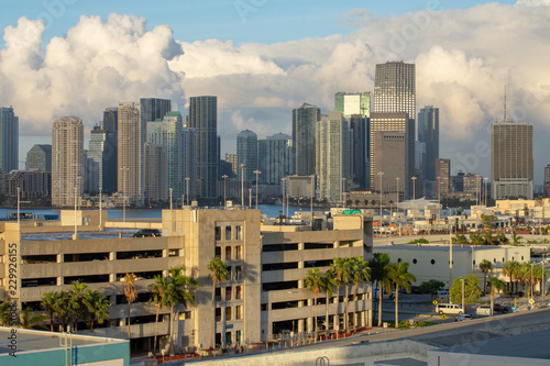 wide angle of the cityscape of downtown miami florida on an early summer morning