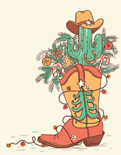 Cowboy Boot With Christmas Elements Isolated On White.Vector Hand Drawn Color Illustration