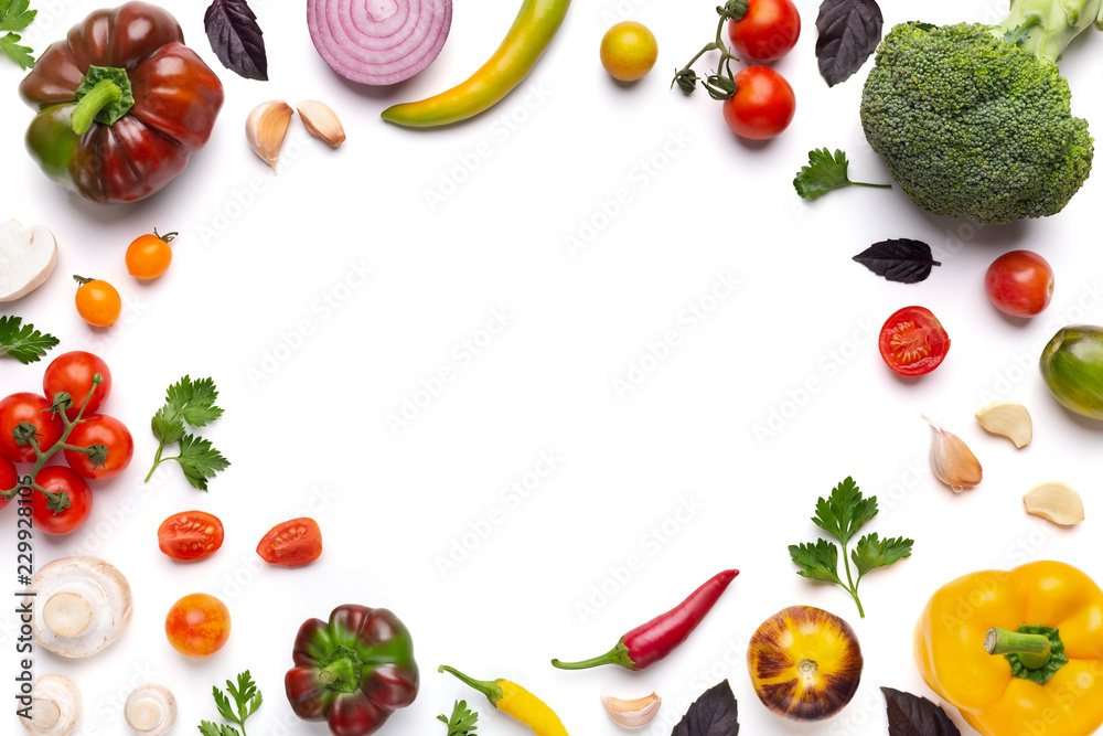 Organic assorted vegetables frame on white background