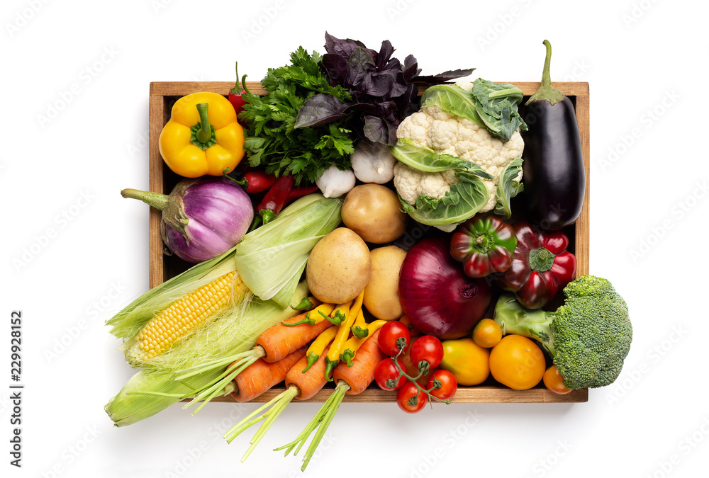 Fototapety, obrazy: Fresh organic vegetables in wooden box on white