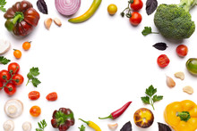 Organic Assorted Vegetables Frame On White Background