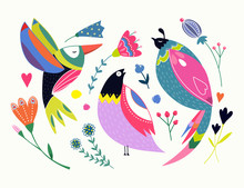 Ethnic Style Birds And Flowers...