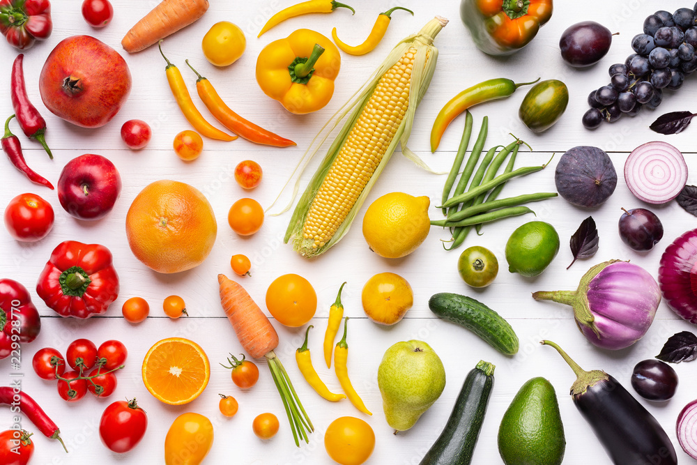 Composition of fruits and vegetables in rainbow colors