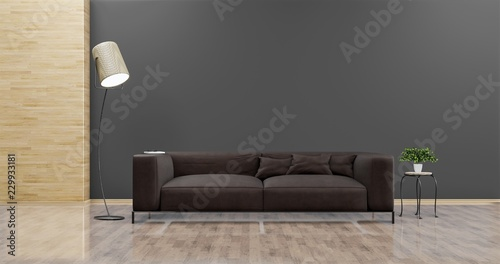 Fototapeta Living room with leather sofa have pillows, , lamp and plant on empty dark gray wall background , Minimal Rustic, 3D Rendering obraz na płótnie