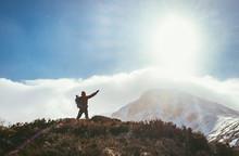 Mountain Hiker Greeting The Su...