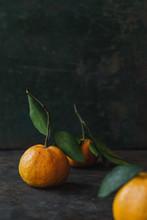 Mandarin Orange On Rustic Background