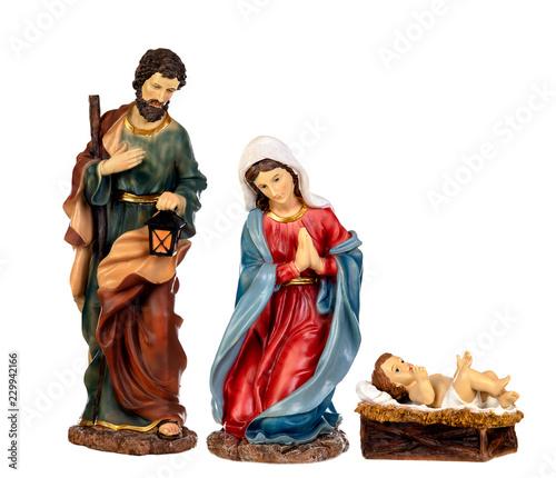 Obraz na plátně Scene of the nativity: Mary, Joseph and the Baby Jesus
