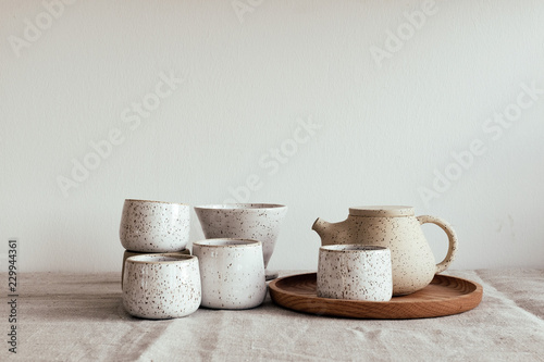 Canvas Print Handmade pottery tea set